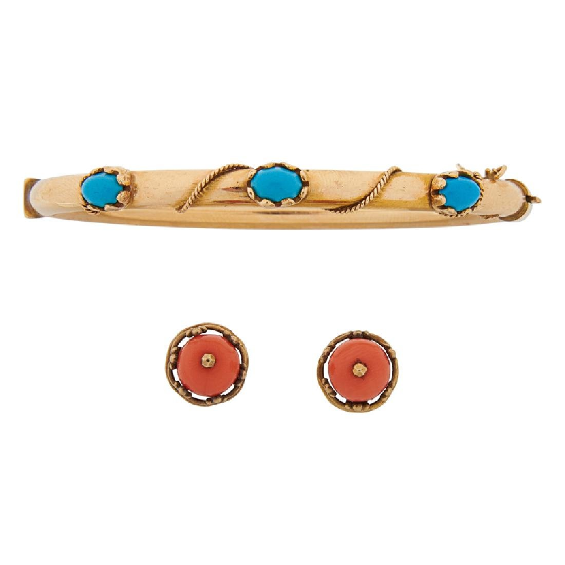 TURQUOISE OR CORAL & GOLD BRACELET OR EARRINGS