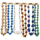 COLLECTION OF BEADED YELLOW GOLD NECKLACES