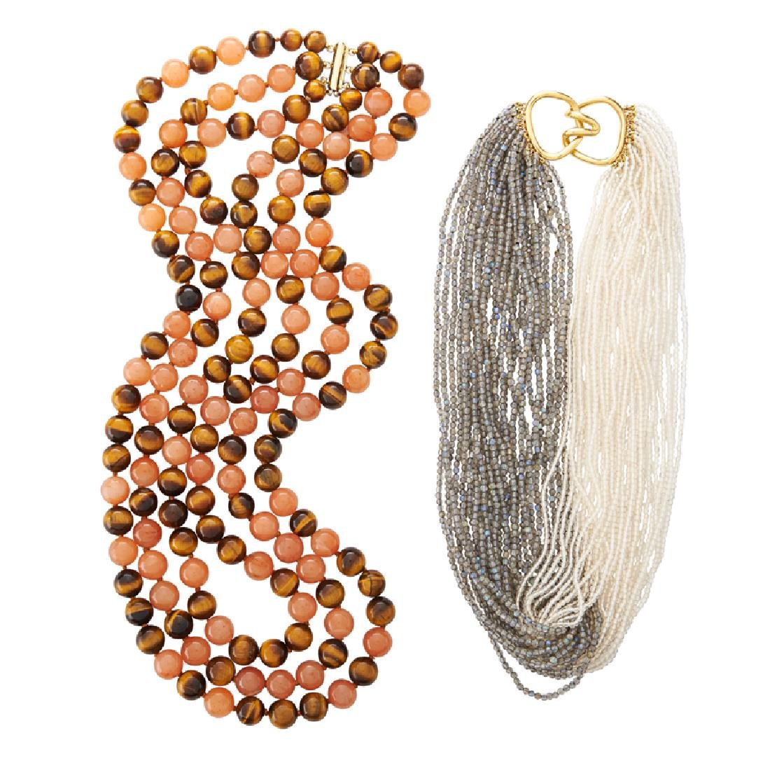 TWO HARDSTONE MULTISTRAND NECKLACES