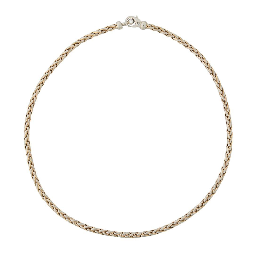 PLATINUM & YELLOW GOLD CHAIN NECKLACE