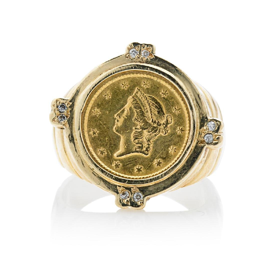 YELLOW GOLD LIBERTY HEAD COIN RING