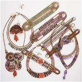 COLLECTION OF ZIIO BEADED GLASS OR GEMSTONE JEWELRY