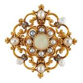 VICTORIAN OPAL NATURAL PEARL DIAMOND  GOLD BROOCH