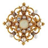 VICTORIAN OPAL, NATURAL PEARL, DIAMOND & GOLD BROOCH
