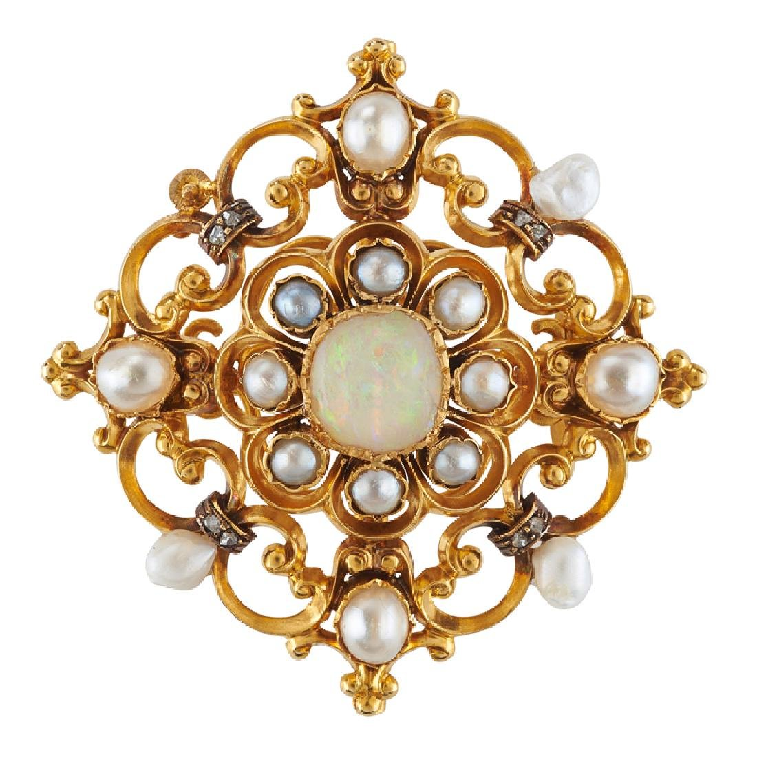 VICTORIAN OPAL, NATURAL PEARL, DIAMOND & GOLD BROOCH