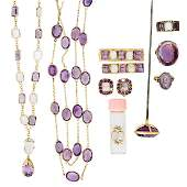 ANTIQUE CARVED MOONSTONE OR AMETHYST JEWELRY