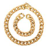 YELLOW GOLD CURB LINK NECKLACE & BRACELET