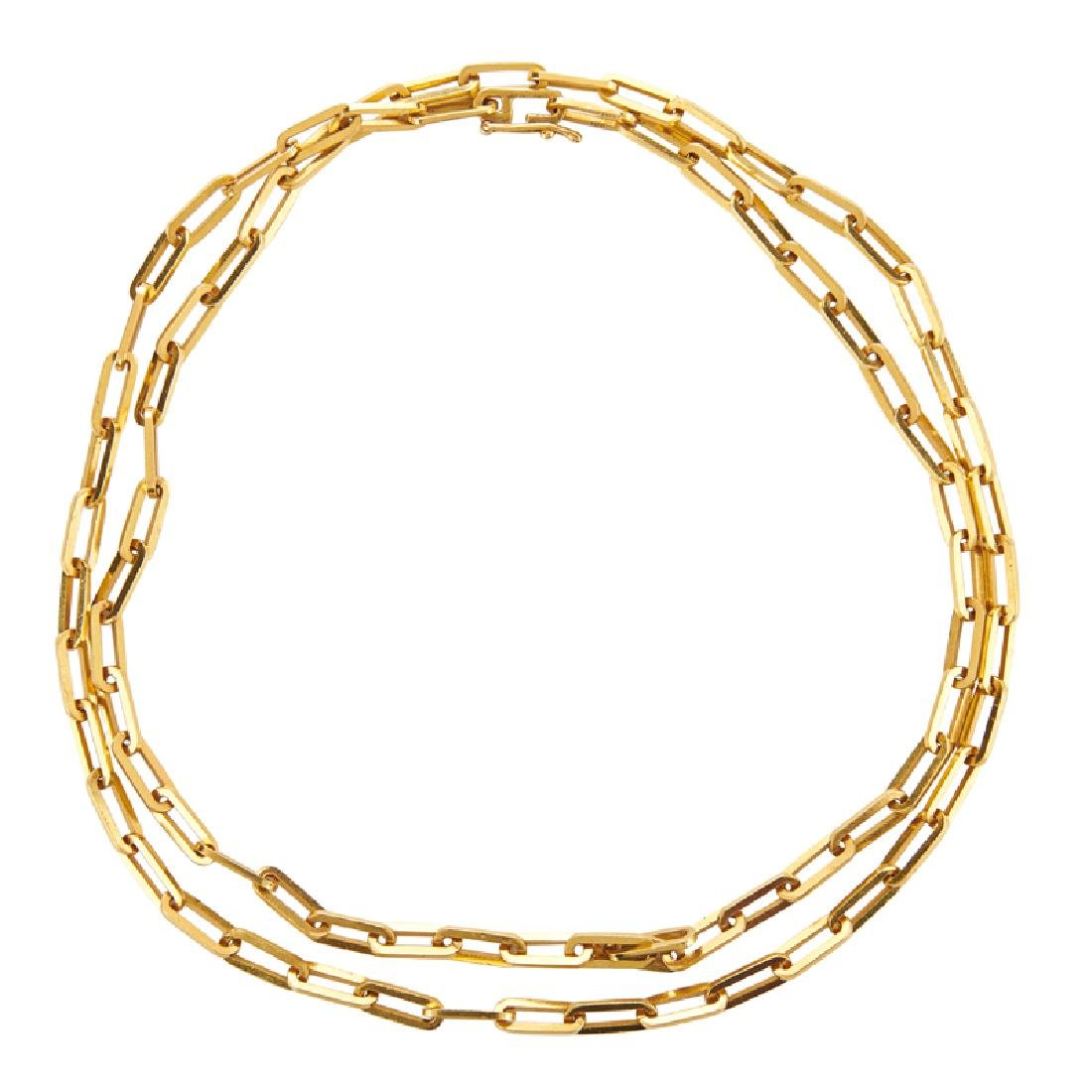 """CARTIER """"SANTOS""""  YELLOW GOLD CHAIN NECKLACE"""