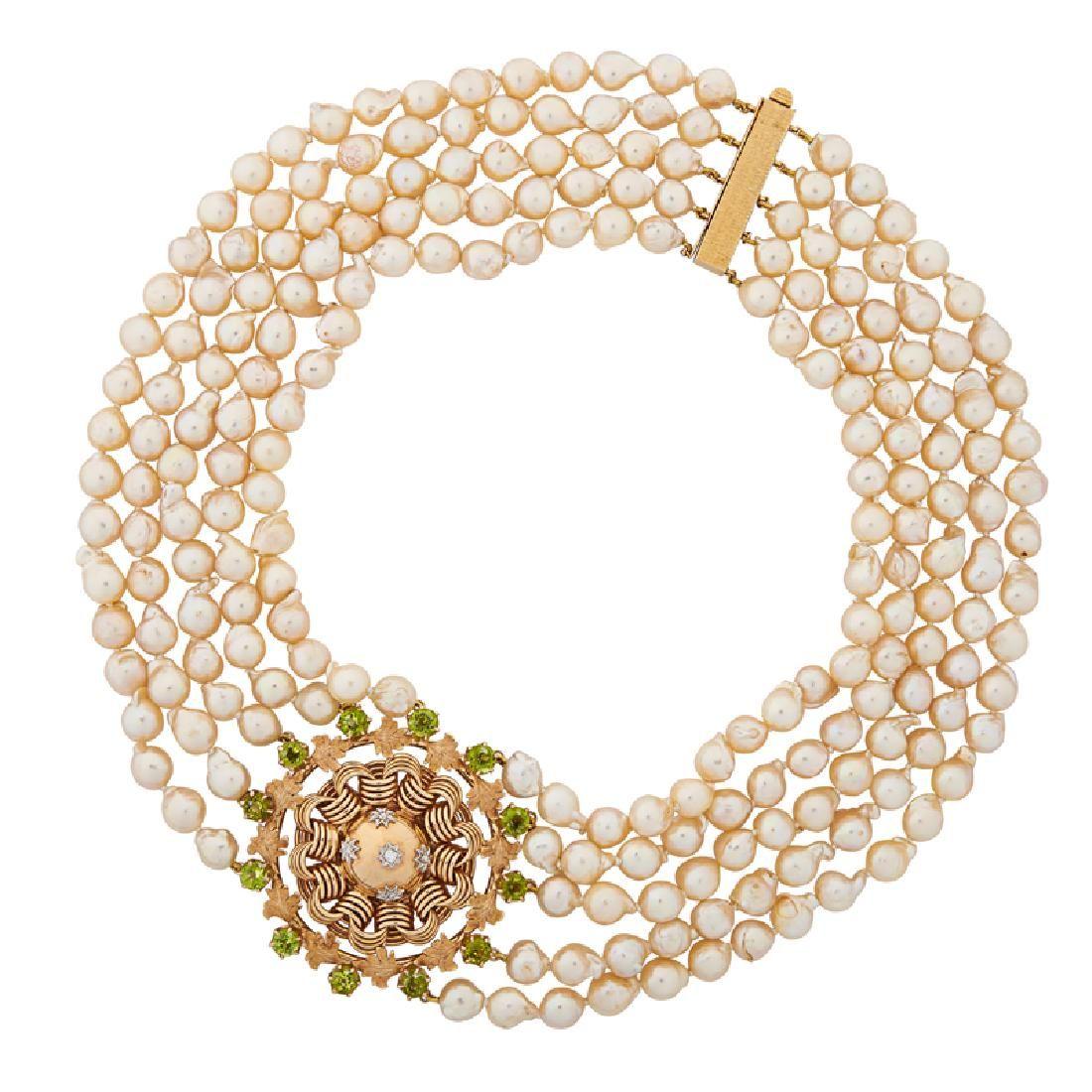 PERIDOT, DIAMOND & YELLOW GOLD PEARL NECKLACE