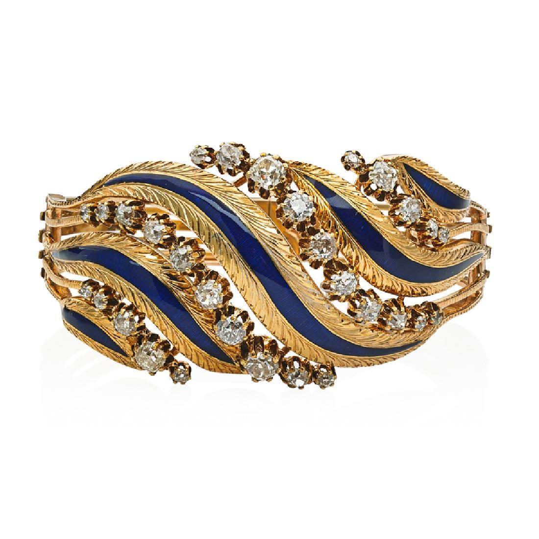 FRENCH DIAMOND & ENAMELED YELLOW GOLD CUFF BRACELET