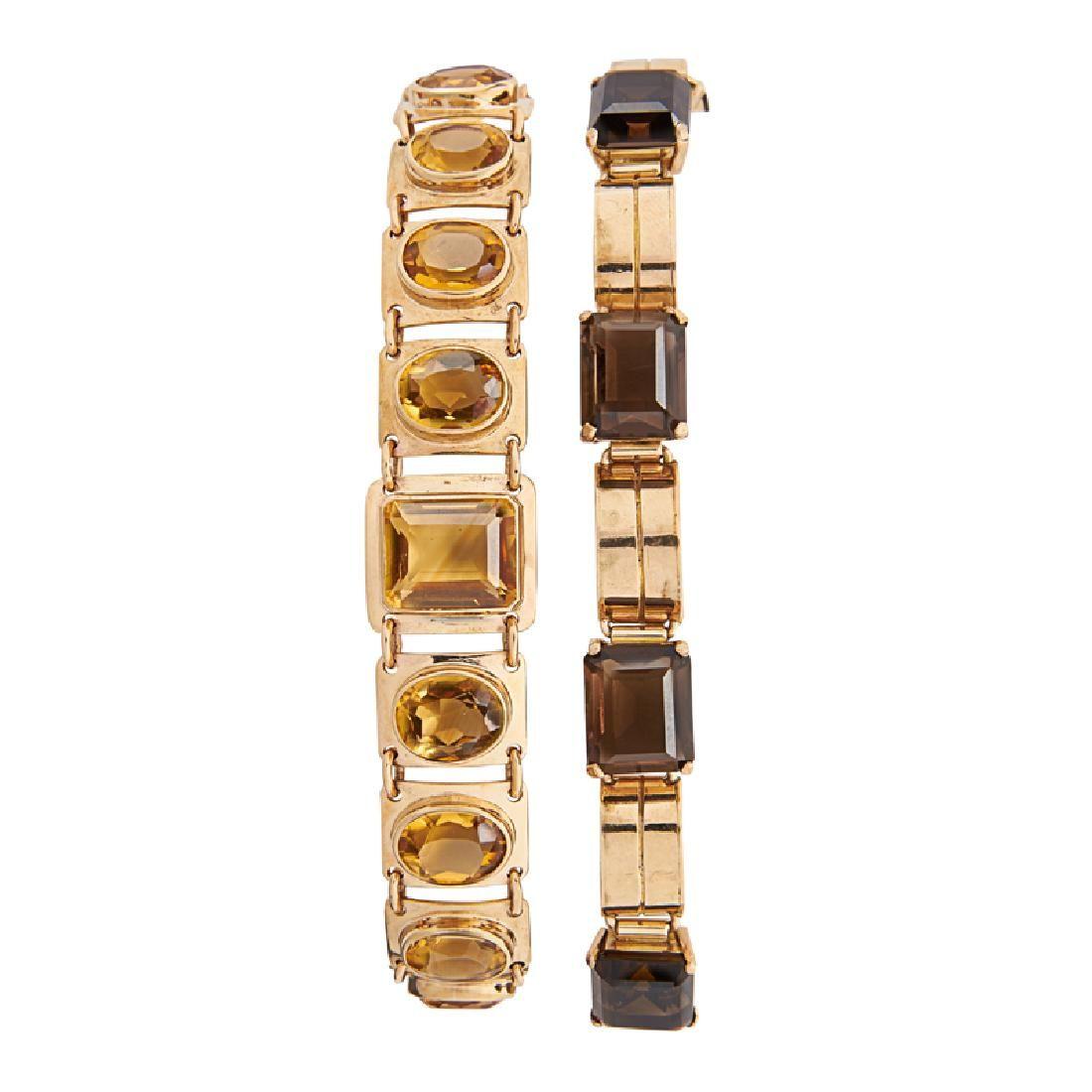 RETRO CITRINE OR SMOKY QUARTZ YELLOW GOLD BRACELETS
