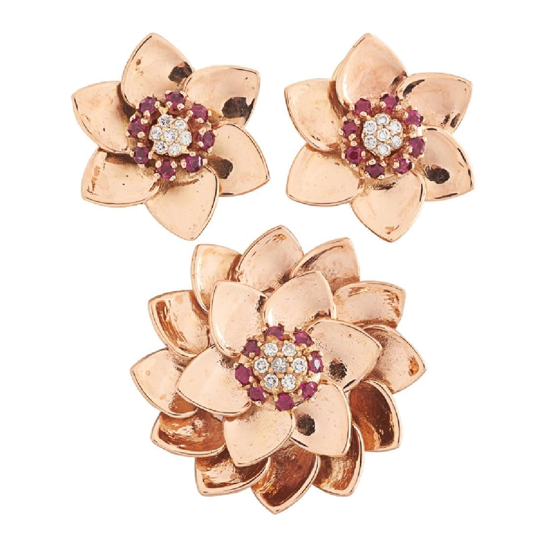 RETRO DIAMOND, RUBY & PINK GOLD FLOWER HEAD SUITE