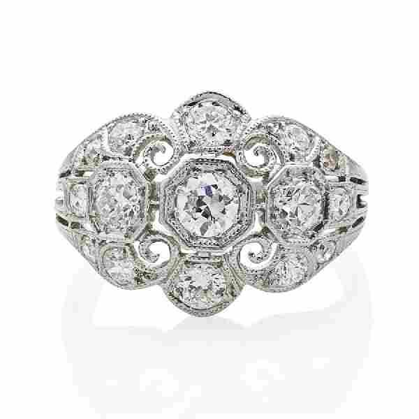 ART DECO DIAMOND & PLATINUM FILIGREE RING
