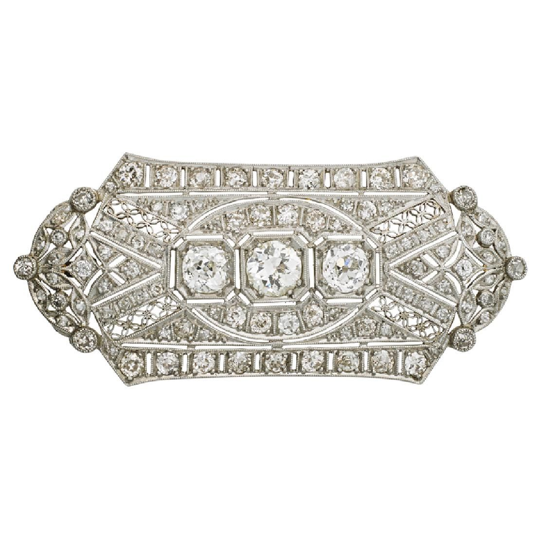 EDWARDIAN DIAMOND & PLATINUM BROOCH