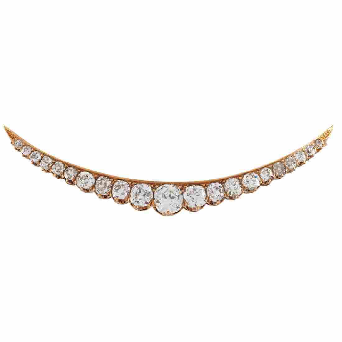 EDWARDIAN DIAMOND & YELLOW GOLD CRESCENT BROOCH