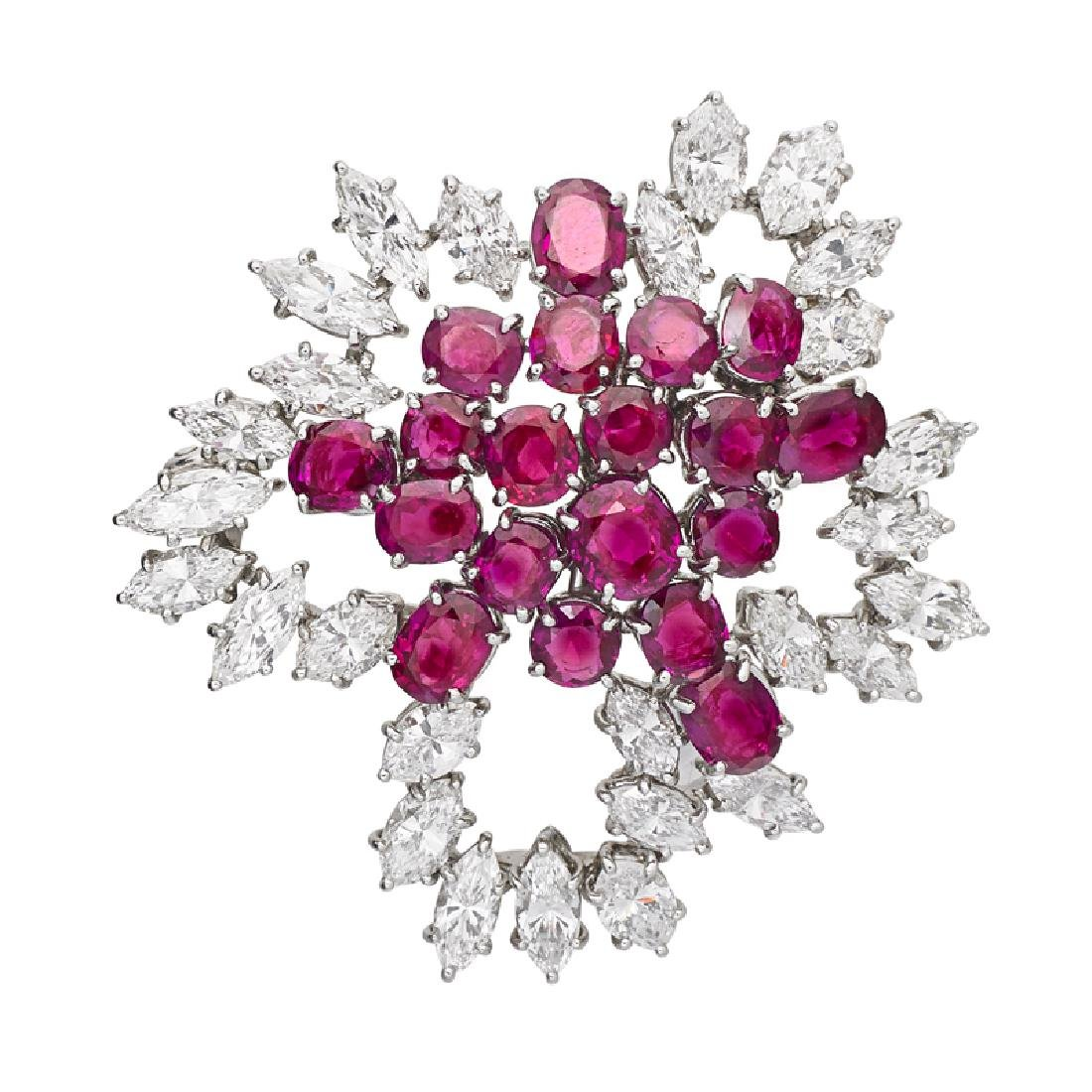 BURMA RUBY, DIAMOND & PLATINUM BROOCH