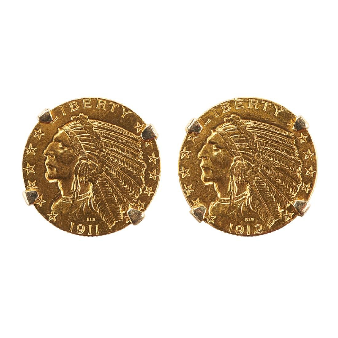 U.S. $5 LIBERTY YELLOW GOLD COIN CUFFLINKS