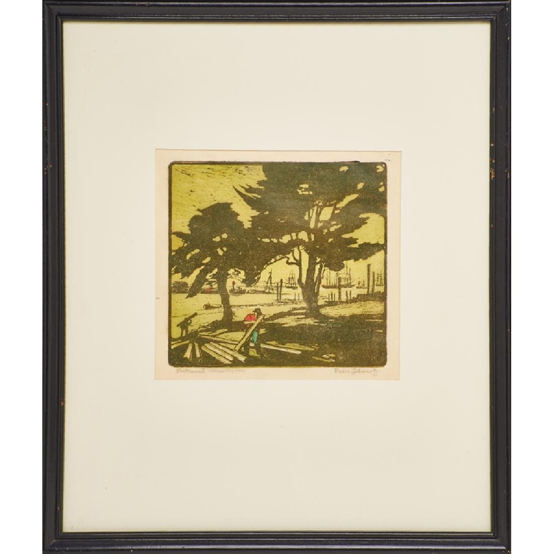 PEDRO DE LEMOS Color woodblock print
