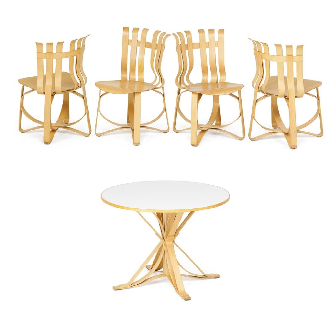 FRANK GEHRY; KNOLL Table and set of four chairs