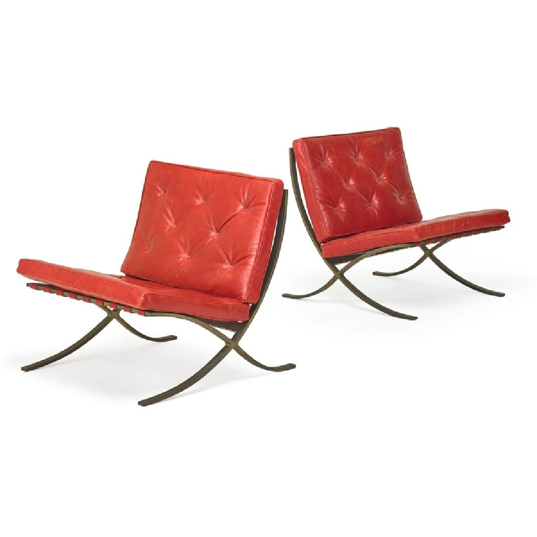 LUDWIG MIES VAN DER ROHE Pair of Barcelona chairs