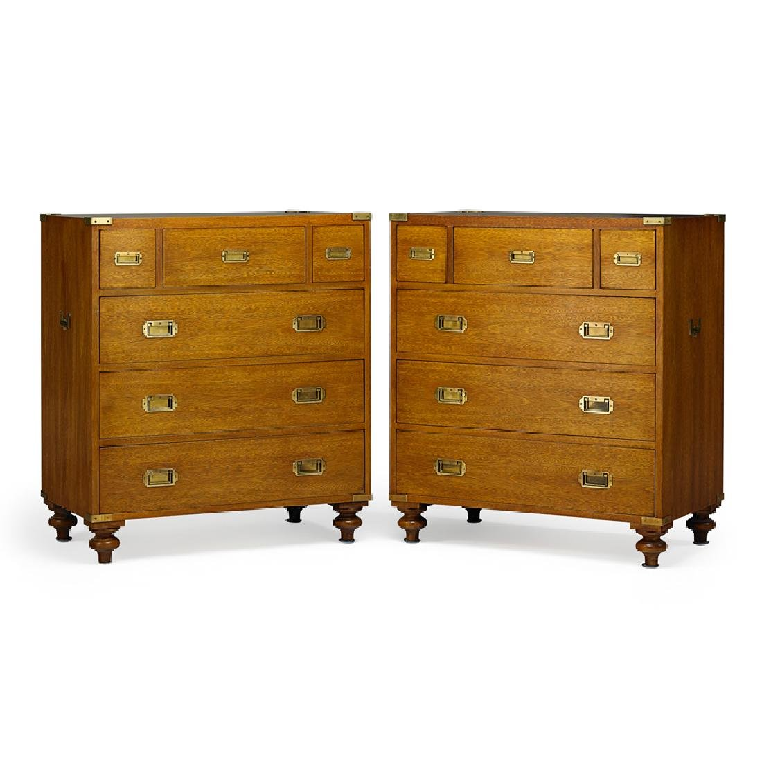 PAIR OF RALPH LAUREN MAHOGANY CAMPAIGN CHESTS