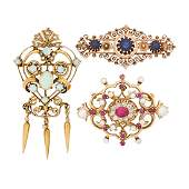 VICTORIAN REVIVAL DIAMOND OR GEM SET GOLD BROOCHES