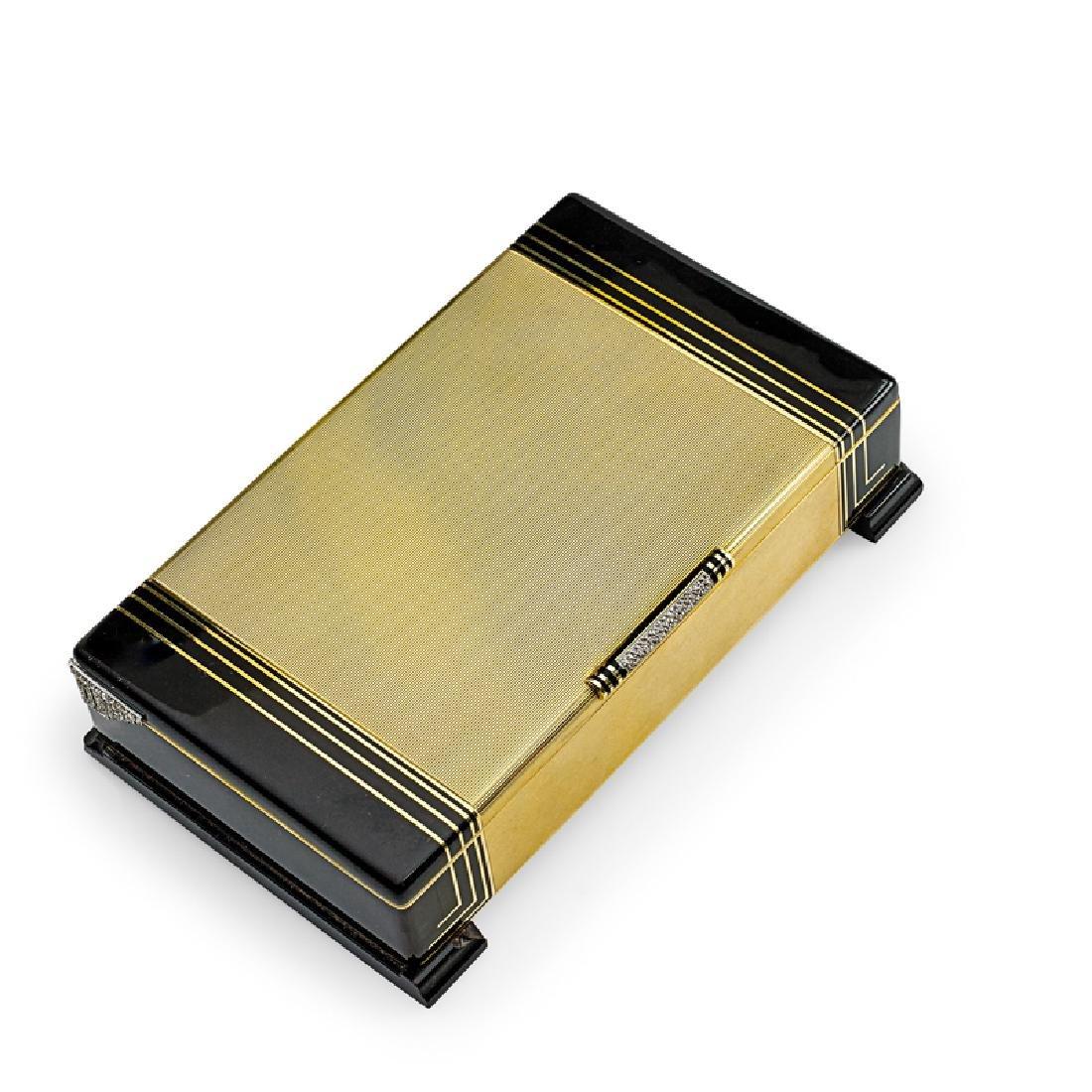 FINE ART DECO CARTIER DIAMOND & ENAMELED GOLD TABLE BOX
