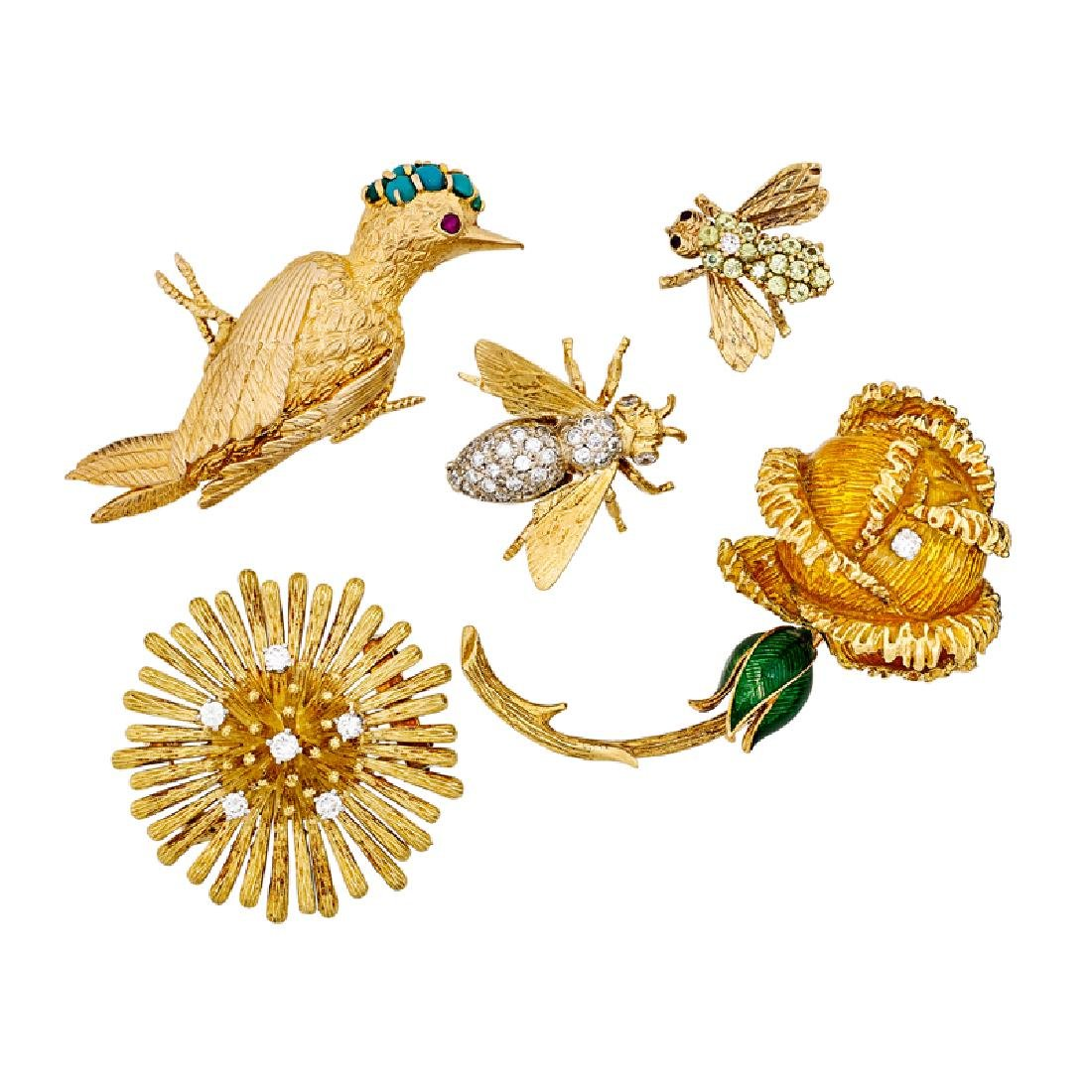 WHIMSICAL DIAMOND OR GEM SET YELLOW GOLD BROOCHES