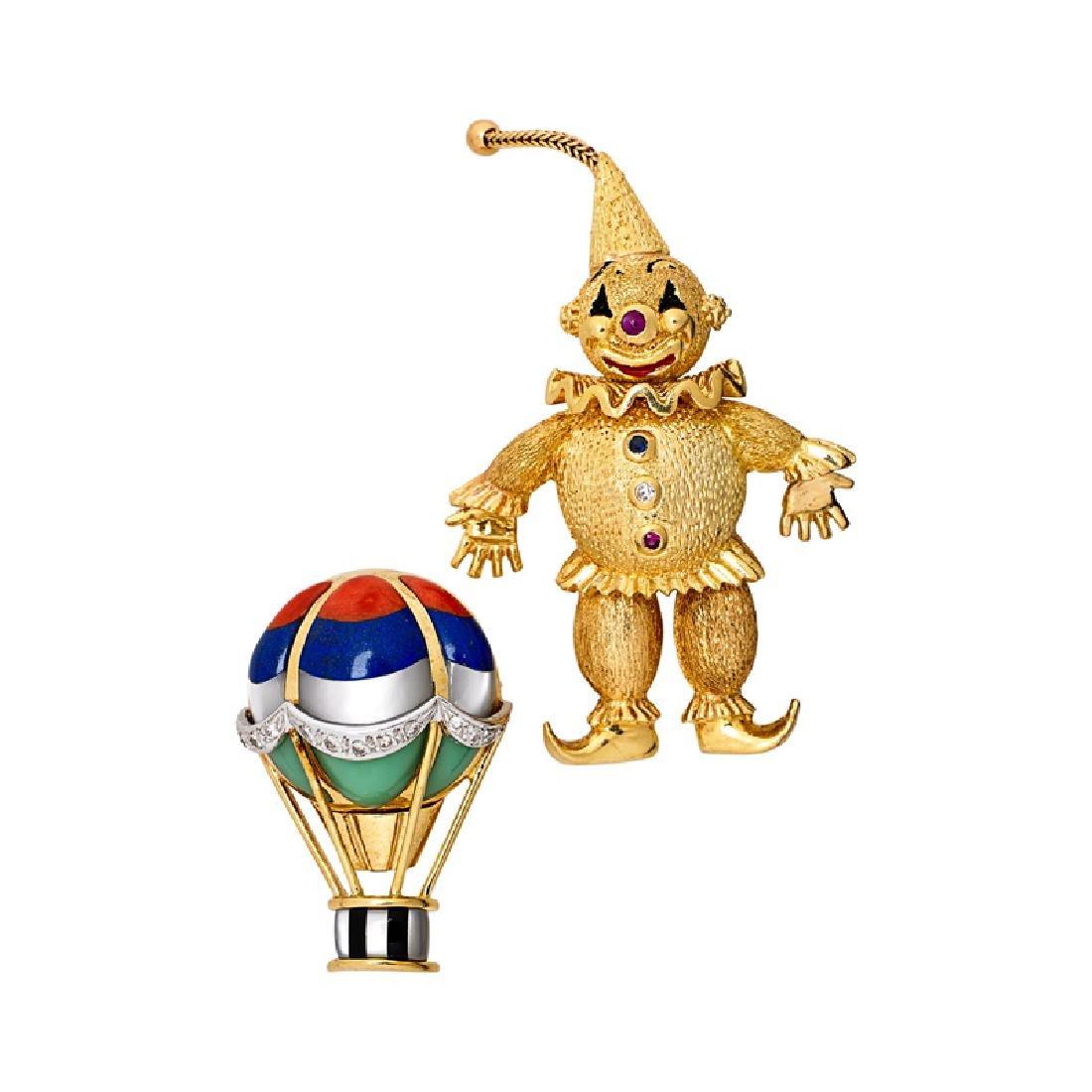 WHIMSICAL DIAMOND & GEM SET YELLOW GOLD BROOCHES