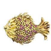 TIFFANY  CO DIAMOND  RUBY YELLOW GOLD FISH BROOCH