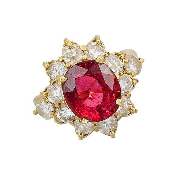 RUBELLITE TOURMALINE , DIAMOND & YELLOW GOLD RING