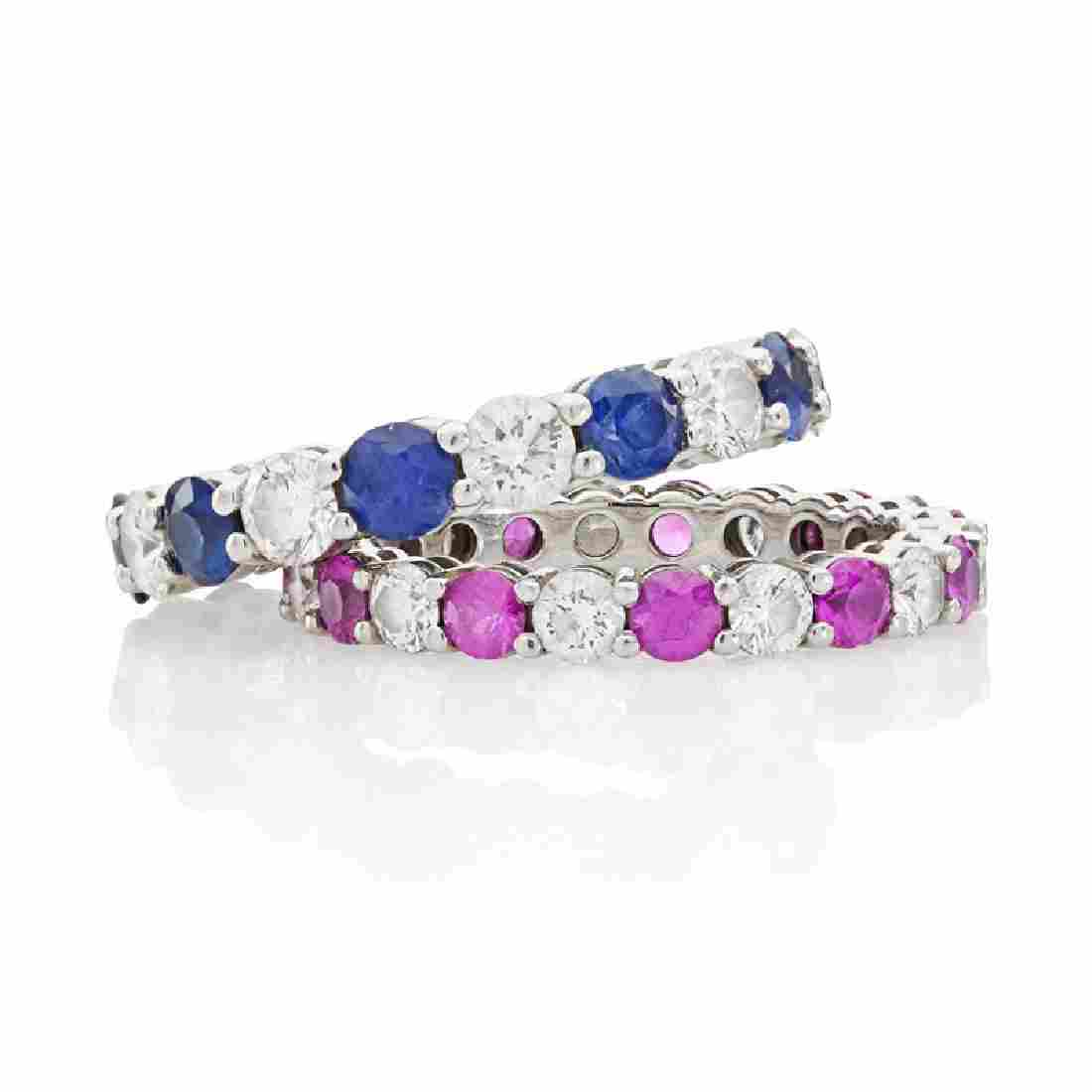 """TIFFANY & CO. """"EMBRACE"""" SAPPHIRE ETERNITY BAND RINGS"""