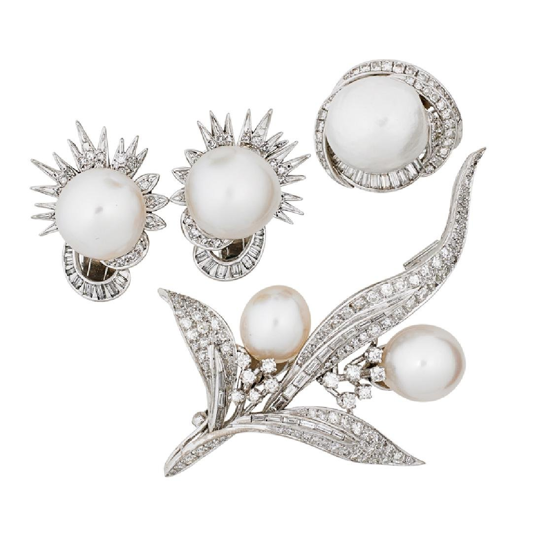 SOUTH SEA PEARL & DIAMOND WHITE GOLD JEWELRY