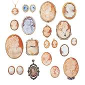 COLLECTION OF MOSTLY CARVED SHELL CAMEOS