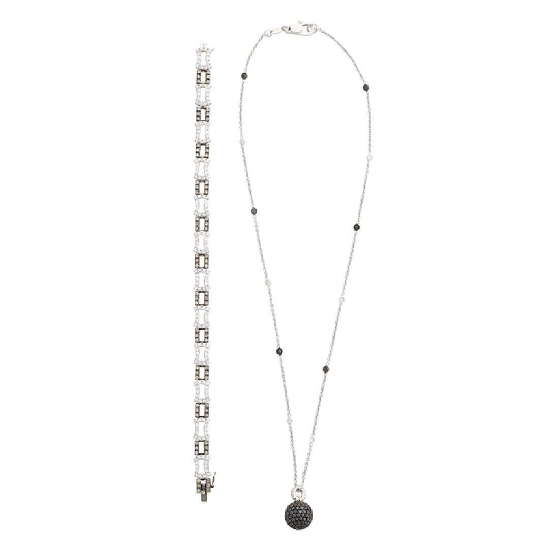 DIAMOND & WHITE GOLD BRACELET & PENDANT NECKLACE