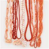 COLLECTION OF CORAL BEAD NECKLACES