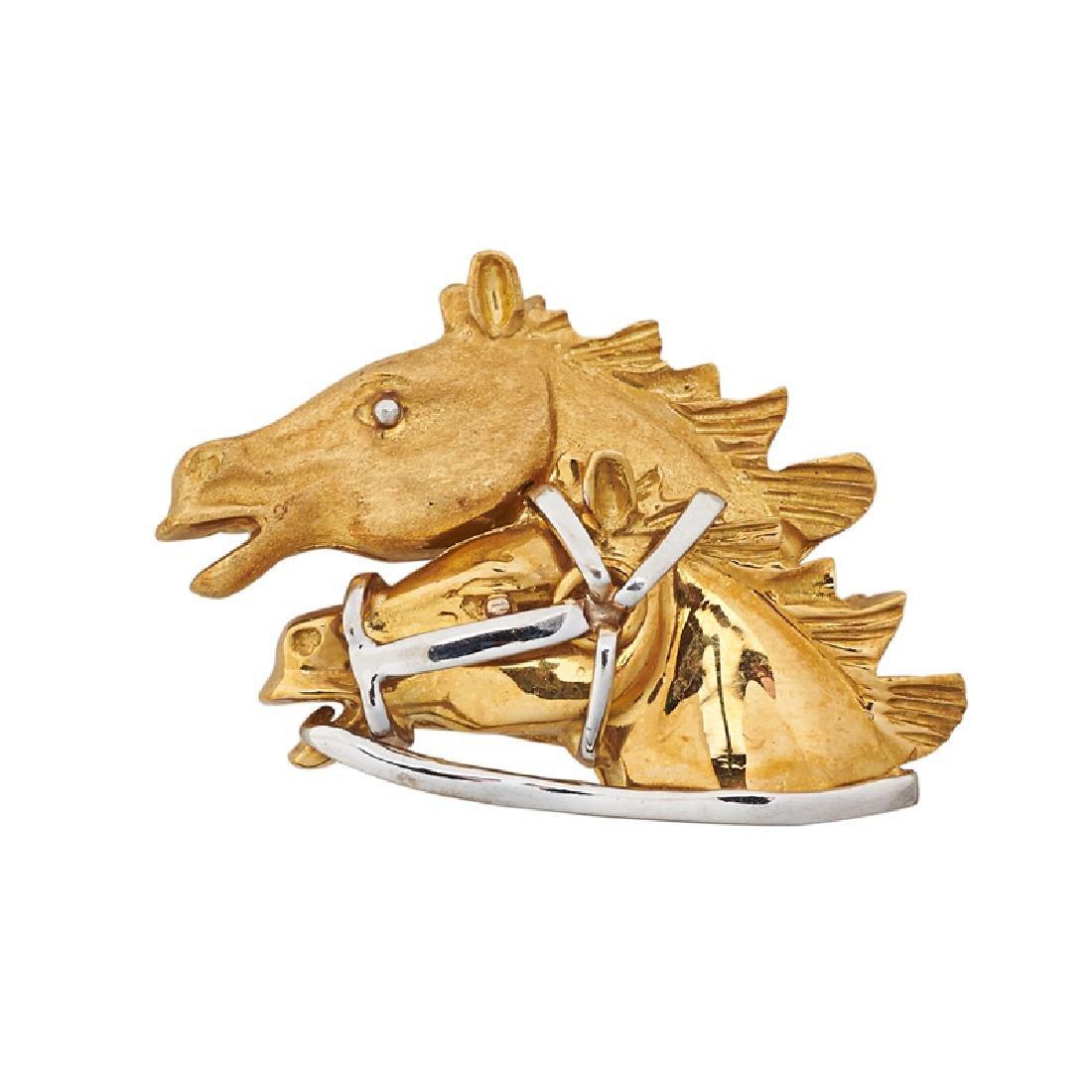 YELLOW GOLD HORSE HEAD BROOCH