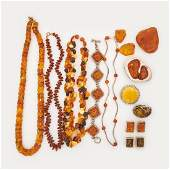 COLLECTION OF AMBER JEWELRY