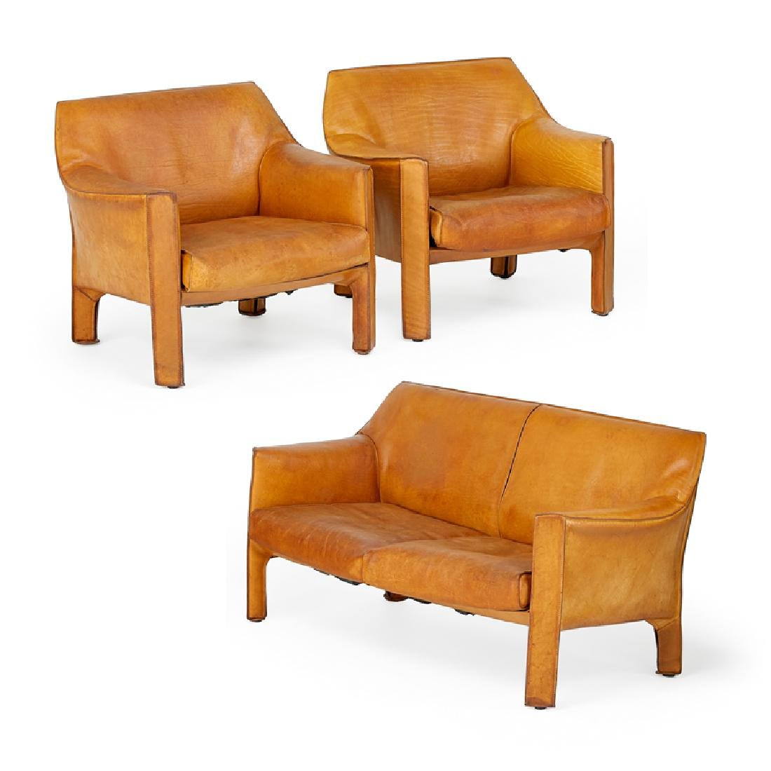 MARIO BELLINI Cab love seat, pr. of lounge chairs