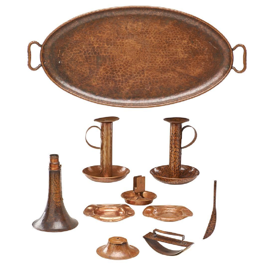 GUSTAV STICKLEY Inkwell, tray, candlesticks, etc.