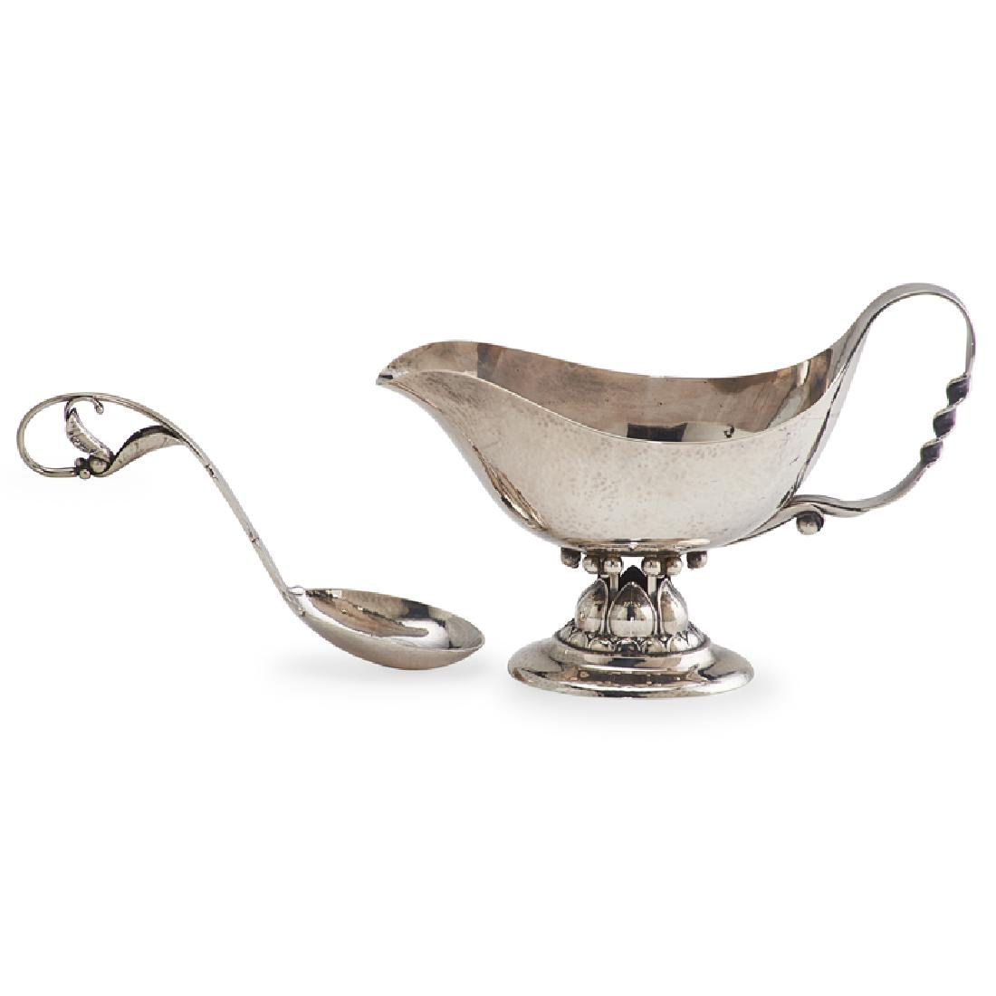 GEORG JENSEN Acorn gravy boat and spoon