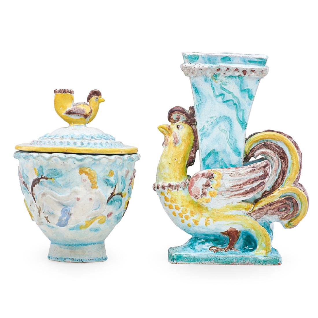 RENE BUTHAUD Vase and lidded vessel