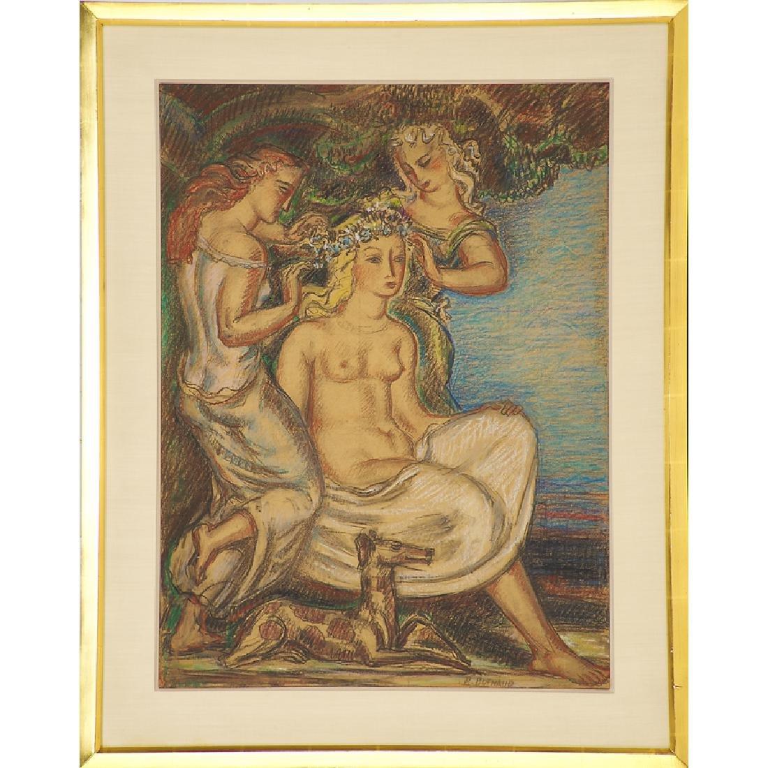 RENE BUTHAUD Untitled cartoon, nude with maidens