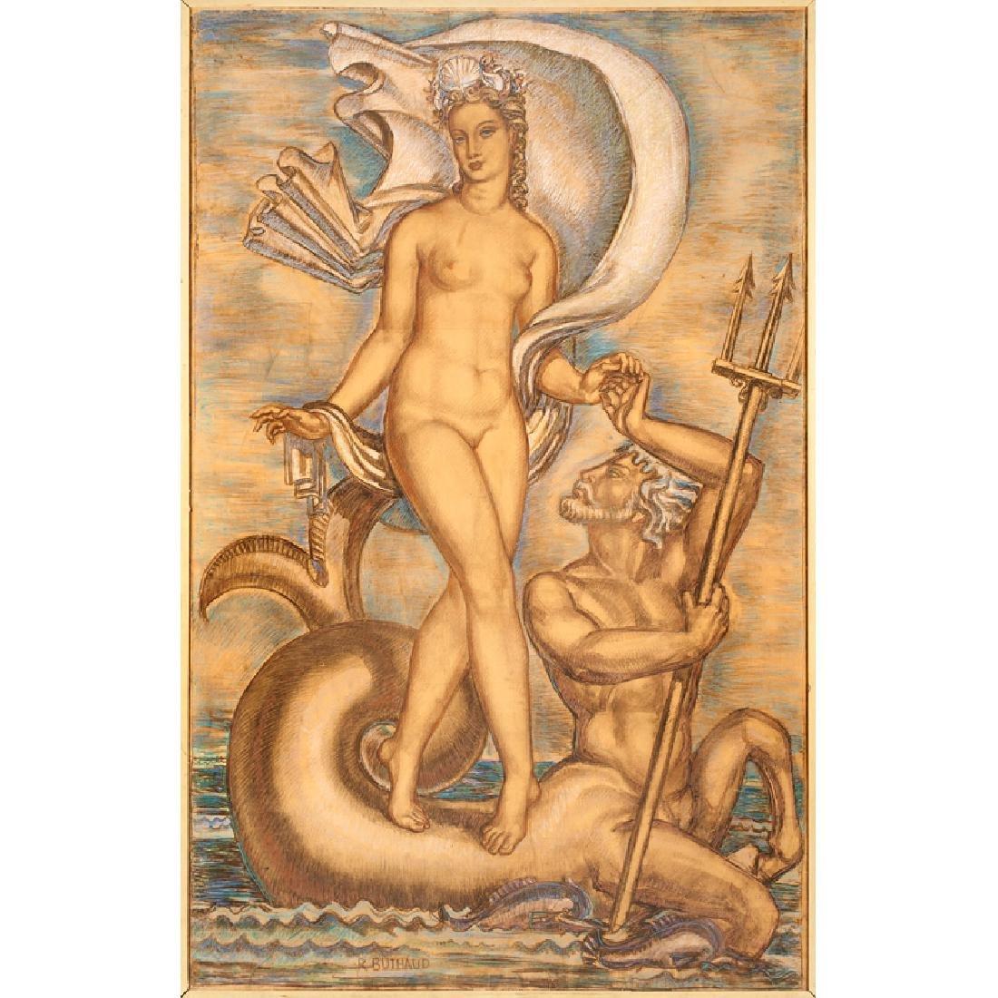 RENE BUTHAUD Massive cartoon (Venus and Neptune)