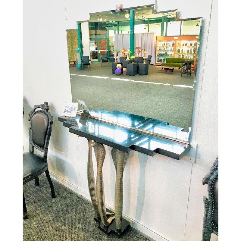 ALBERT CHEURET Rare Cobra console table w/ mirror - 10