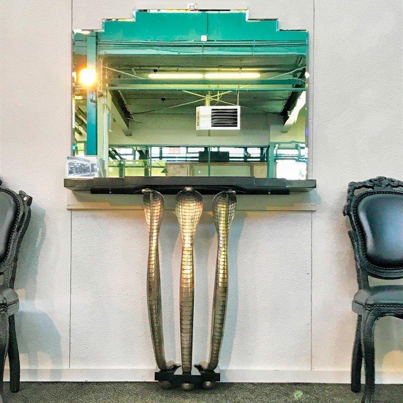 ALBERT CHEURET Rare Cobra console table w/ mirror - 8