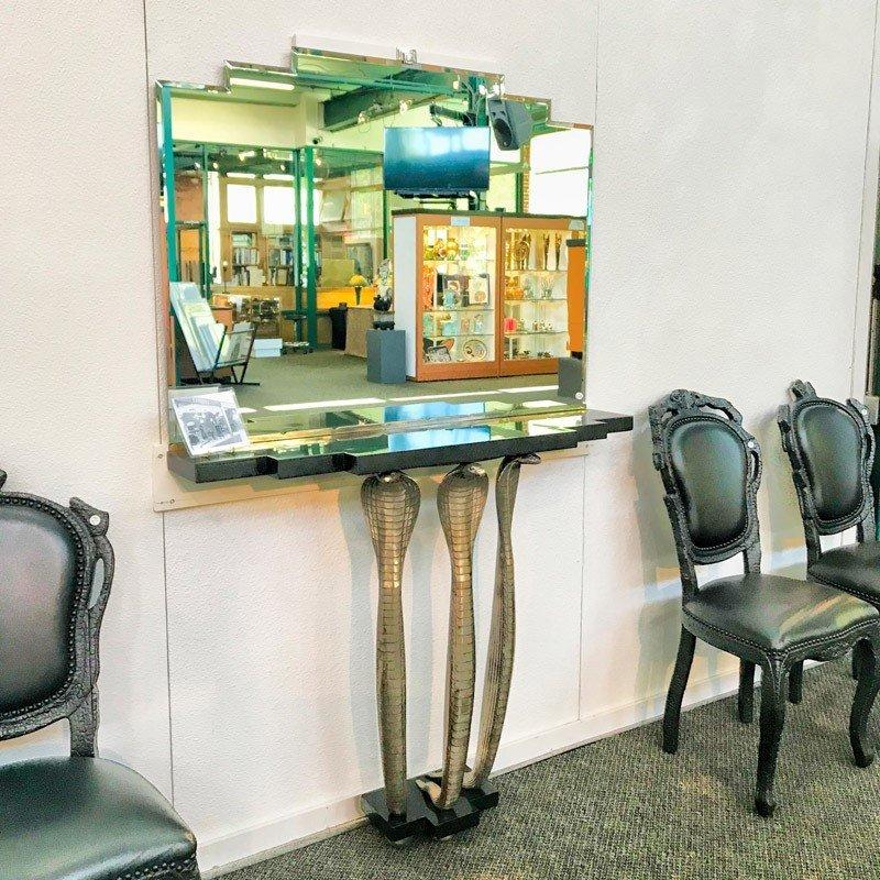 ALBERT CHEURET Rare Cobra console table w/ mirror - 9