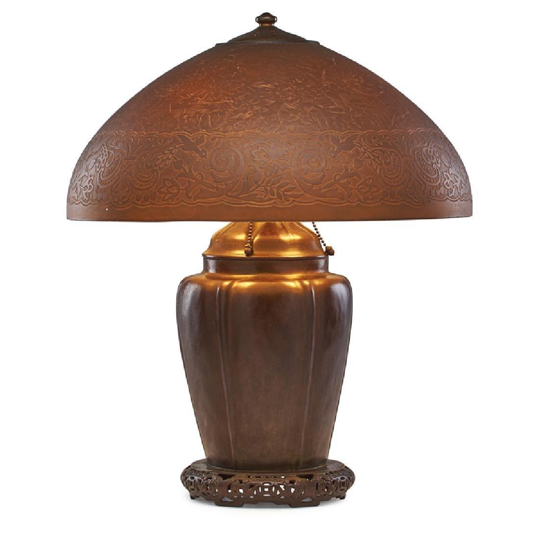 HANDEL Chinese table lamp, Brown Mosserine shade