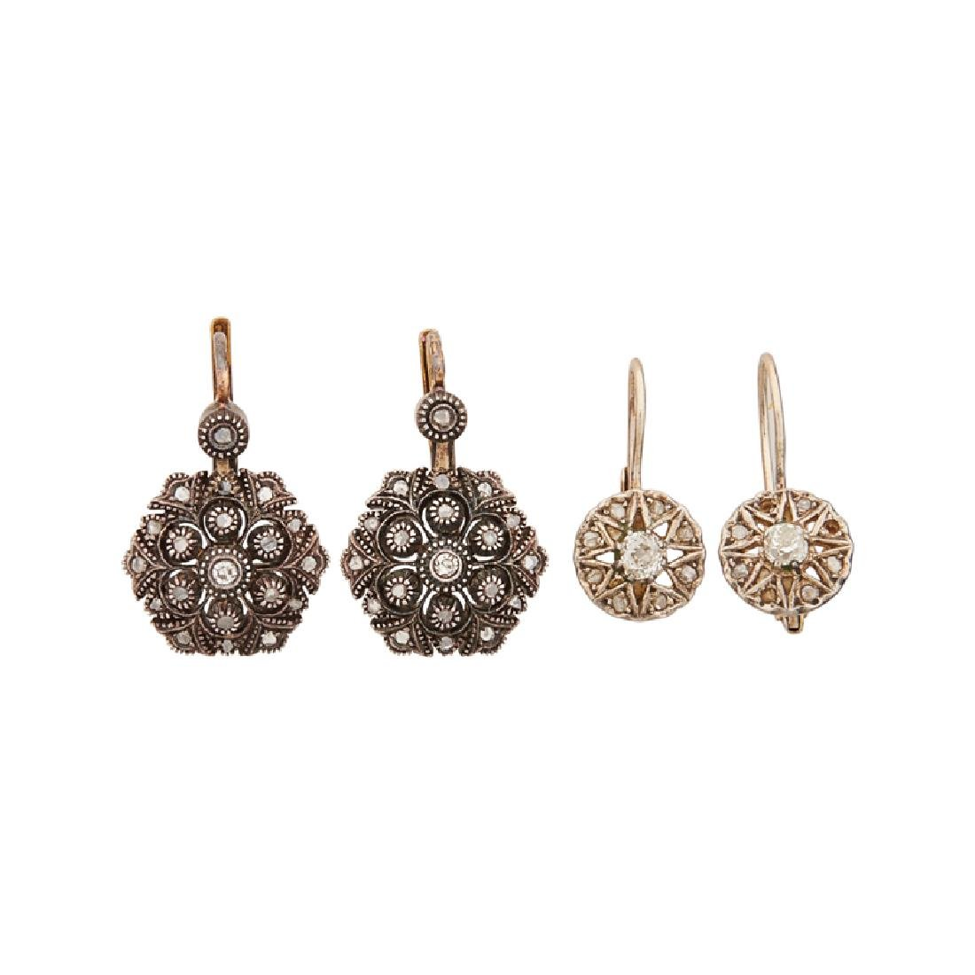 VICTORIAN DIAMOND & SILVER-TOPPED YELLOW GOLD EARRINGS