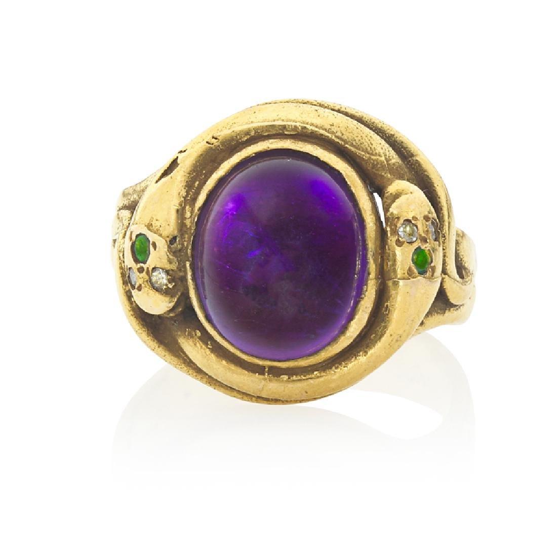 VICTORIAN AMETHYST & YELLOW GOLD SERPENT RING
